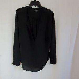 Sheer black blouse 100% Polyester
